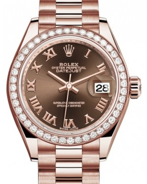 Rolex Lady Datejust 28 Rose Gold Chocolate Roman Dial & Diamond Bezel President Bracelet 279135RBR - BRAND NEW