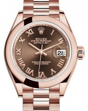 Rolex Lady Datejust 28 Rose Gold Chocolate Roman Dial & Smooth Domed Bezel President Bracelet 279165 - BRAND NEW