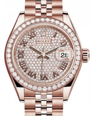 Rolex Lady Datejust 28 Rose Gold Diamond Paved Roman Dial & Diamond Bezel Jubilee Bracelet 279135RBR - BRAND NEW