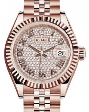 Rolex Lady Datejust 28 Rose Gold Diamond Paved Roman Dial & Fluted Bezel Jubilee Bracelet 279175 - BRAND NEW