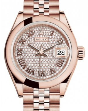 Rolex Lady Datejust 28 Rose Gold Diamond Paved Roman Dial & Smooth Domed Bezel Jubilee Bracelet 279165 - BRAND NEW
