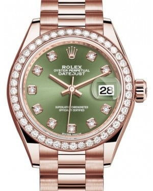 Rolex Lady Datejust 28 Rose Gold Olive Green Diamond Dial & Diamond Bezel President Bracelet 279135RBR - BRAND NEW