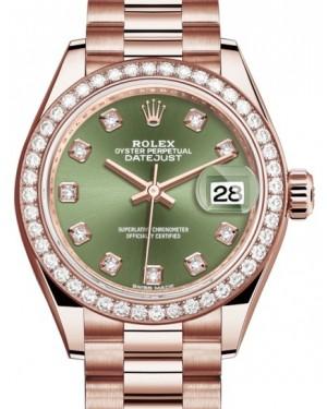 Rolex Lady Datejust 28 Rose Gold Olive Green Diamond Dial & Diamond Bezel President Bracelet 279135RBR - BRAND NEW