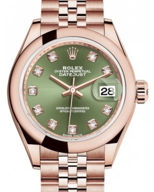 Rolex Lady Datejust 28 Rose Gold Olive Green Diamond Dial & Smooth Domed Bezel Jubilee Bracelet 279165 - BRAND NEW