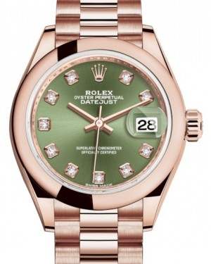 Rolex Lady Datejust 28 Rose Gold Olive Green Diamond Dial & Smooth Domed Bezel President Bracelet 279165 - BRAND NEW