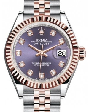 Rolex Lady Datejust 28 Rose Gold/Steel Aubergine Diamond Dial & Fluted Bezel Jubilee Bracelet 279171 - BRAND NEW