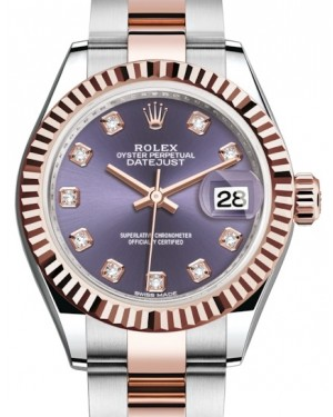Rolex Lady Datejust 28 Rose Gold/Steel Aubergine Diamond Dial & Fluted Bezel Oyster Bracelet 279171 - BRAND NEW