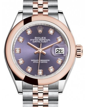 Rolex Lady Datejust 28 Rose Gold/Steel Aubergine Diamond Dial & Smooth Domed Bezel Jubilee Bracelet 279161 - BRAND NEW