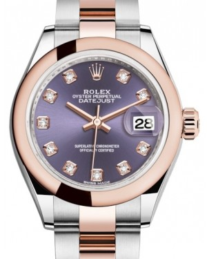 Rolex Lady Datejust 28 Rose Gold/Steel Aubergine Diamond Dial & Smooth Domed Bezel Oyster Bracelet 279161 - BRAND NEW