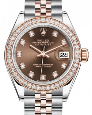 Rolex Lady Datejust 28 Rose Gold/Steel Chocolate Diamond Dial & Diamond Bezel Jubilee Bracelet 279381RBR - BRAND NEW