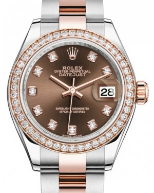 Rolex Lady Datejust 28 Rose Gold/Steel Chocolate Diamond Dial & Diamond Bezel Oyster Bracelet 279381RBR - BRAND NEW