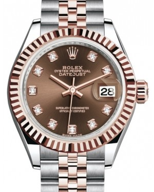 Rolex Lady Datejust 28 Rose Gold/Steel Chocolate Diamond Dial & Fluted Bezel Jubilee Bracelet 279171 - BRAND NEW