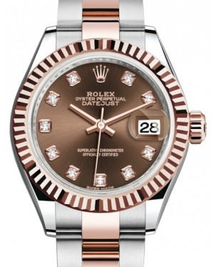 Rolex Lady Datejust 28 Rose Gold/Steel Chocolate Diamond Dial & Fluted Bezel Oyster Bracelet 279171 - BRAND NEW