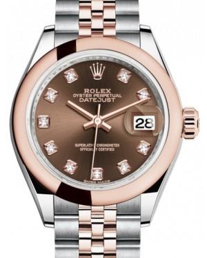 Rolex Lady Datejust 28 Rose Gold/Steel Chocolate Diamond Dial & Smooth Domed Bezel Jubilee Bracelet 279161 - BRAND NEW