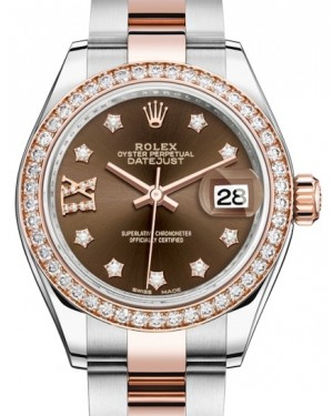 Rolex Lady Datejust 28 Rose Gold/Steel Chocolate Diamond IX Dial & Diamond Bezel Oyster Bracelet 279381RBR - BRAND NEW