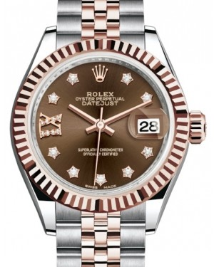 Rolex Lady Datejust 28 Rose Gold/Steel Chocolate Diamond IX Dial & Fluted Bezel Jubilee Bracelet 279171 - BRAND NEW