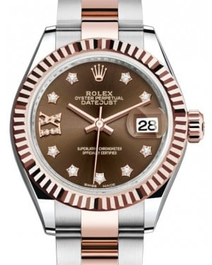 Rolex Lady Datejust 28 Rose Gold/Steel Chocolate Diamond IX Dial & Fluted Bezel Oyster Bracelet 279171 - BRAND NEW