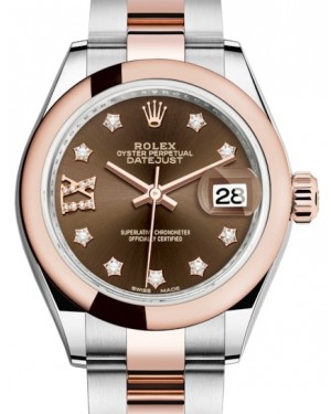 Rolex Lady Datejust 28 Rose Gold/Steel Chocolate Diamond IX Dial & Smooth Domed Bezel Oyster Bracelet 279161 - BRAND NEW