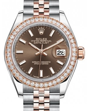 Rolex Lady Datejust 28 Rose Gold/Steel Chocolate Index Dial & Diamond Bezel Jubilee Bracelet 279381RBR - BRAND NEW