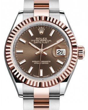 Rolex Lady Datejust 28 Rose Gold/Steel Chocolate Index Dial & Fluted Bezel Oyster Bracelet 279171 - BRAND NEW