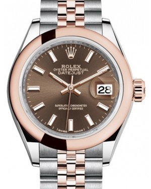 Rolex Lady Datejust 28 Rose Gold/Steel Chocolate Index Dial & Smooth Domed Bezel Jubilee Bracelet 279161 - BRAND NEW
