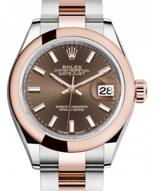 Rolex Lady Datejust 28 Rose Gold/Steel Chocolate Index Dial & Smooth Domed Bezel Oyster Bracelet 279161 - BRAND NEW