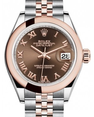 Rolex Lady Datejust 28 Rose Gold/Steel Chocolate Roman Dial & Smooth Domed Bezel Jubilee Bracelet 279161 - BRAND NEW