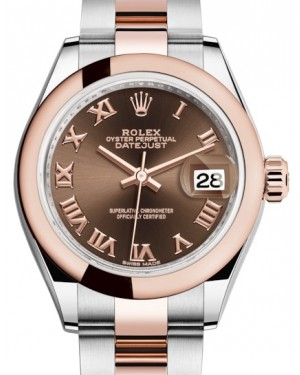 Rolex Lady Datejust 28 Rose Gold/Steel Chocolate Roman Dial & Smooth Domed Bezel Oyster Bracelet 279161 - BRAND NEW