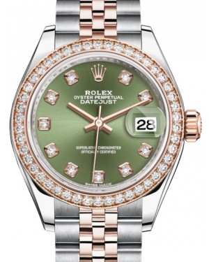 Rolex Lady Datejust 28 Rose Gold/Steel Olive Green Diamond Dial & Diamond Bezel Jubilee Bracelet 279381RBR - BRAND NEW