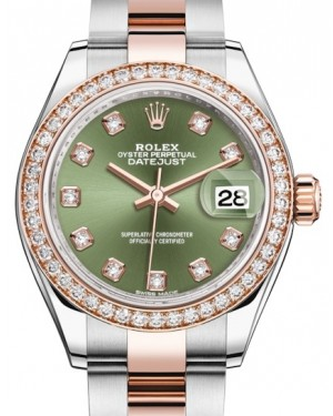 Rolex Lady Datejust 28 Rose Gold/Steel Olive Green Diamond Dial & Diamond Bezel Oyster Bracelet 279381RBR - BRAND NEW
