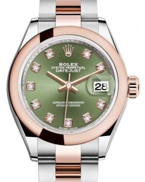 Rolex Lady Datejust 28 Rose Gold/Steel Olive Green Diamond Dial & Smooth Domed Bezel Oyster Bracelet 279161 - BRAND NEW