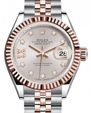 Rolex Lady Datejust 28 Rose Gold/Steel Sundust Diamond IX Dial & Fluted Bezel Jubilee Bracelet 279171 - BRAND NEW