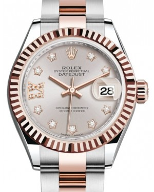 Rolex Lady Datejust 28 Rose Gold/Steel Sundust Diamond IX Dial & Fluted Bezel Oyster Bracelet 279171 - BRAND NEW