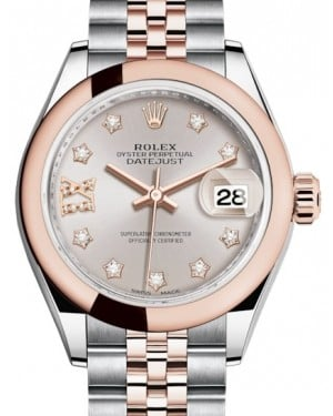 Rolex Lady Datejust 28 Rose Gold/Steel Sundust Diamond IX Dial & Smooth Domed Bezel Jubilee Bracelet 279161 - BRAND NEW
