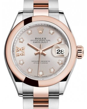 Rolex Lady Datejust 28 Rose Gold/Steel Sundust Diamond IX Dial & Smooth Domed Bezel Oyster Bracelet 279161 - BRAND NEW