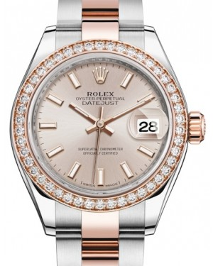 Rolex Lady Datejust 28 Rose Gold/Steel Sundust Index Dial & Diamond Bezel Oyster Bracelet 279381RBR - BRAND NEW