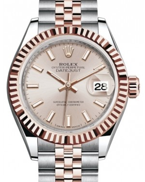 Rolex Lady Datejust 28 Rose Gold/Steel Sundust Index Dial & Fluted Bezel Jubilee Bracelet 279171 - BRAND NEW