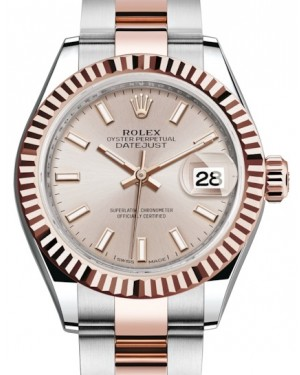 Rolex Lady Datejust 28 Rose Gold/Steel Sundust Index Dial & Fluted Bezel Oyster Bracelet 279171 - BRAND NEW