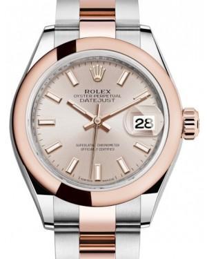 Rolex Lady Datejust 28 Rose Gold/Steel Sundust Index Dial & Smooth Domed Bezel Oyster Bracelet 279161 - BRAND NEW