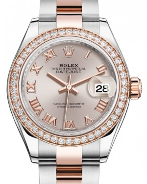 Rolex Lady Datejust 28 Rose Gold/Steel Sundust Roman Dial & Diamond Bezel Oyster Bracelet 279381RBR - BRAND NEW