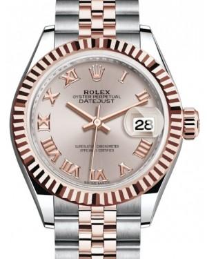 Rolex Lady Datejust 28 Rose Gold/Steel Sundust Roman Dial & Fluted Bezel Jubilee Bracelet 279171 - BRAND NEW