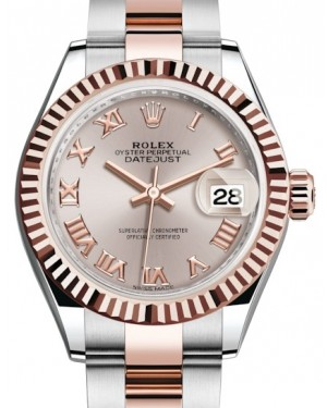 Rolex Lady Datejust 28 Rose Gold/Steel Sundust Roman Dial & Fluted Bezel Oyster Bracelet 279171 - BRAND NEW