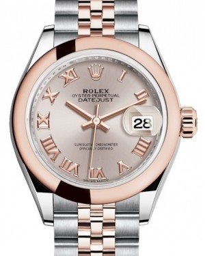 Rolex Lady Datejust 28 Rose Gold/Steel Sundust Roman Dial & Smooth Domed Bezel Jubilee Bracelet 279161 - BRAND NEW