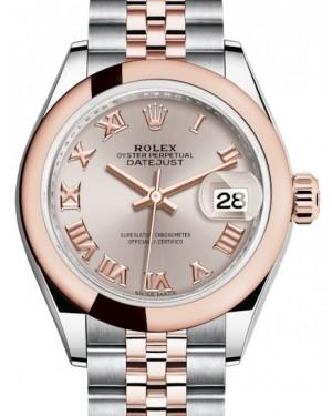 Rolex Lady Datejust 28 Rose Gold/Steel Sundust Roman Dial & Smooth Domed Bezel Jubilee Bracelet 279161 - BRAND NEW