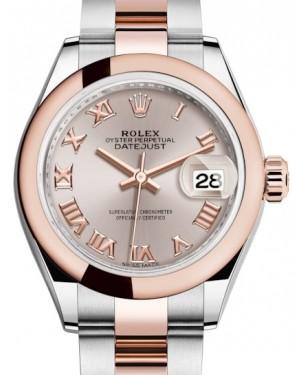 Rolex Lady Datejust 28 Rose Gold/Steel Sundust Roman Dial & Smooth Domed Bezel Oyster Bracelet 279161 - BRAND NEW