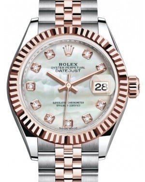 Rolex Lady Datejust 28 Rose Gold/Steel White Mother of Pearl Diamond Dial & Fluted Bezel Jubilee Bracelet 279171 - BRAND NEW