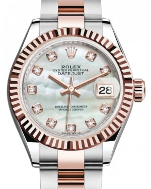 Rolex Lady Datejust 28 Rose Gold/Steel White Mother of Pearl Diamond Dial & Fluted Bezel Oyster Bracelet 279171 - BRAND NEW