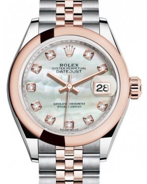Rolex Lady Datejust 28 Rose Gold/Steel White Mother of Pearl Diamond Dial & Smooth Domed Bezel Jubilee Bracelet 279161 - BRAND NEW