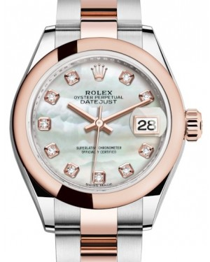 Rolex Lady Datejust 28 Rose Gold/Steel White Mother of Pearl Diamond Dial & Smooth Domed Bezel Oyster Bracelet 279161 - BRAND NEW