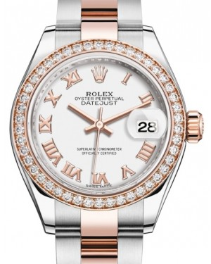 Rolex Lady Datejust 28 Rose Gold/Steel White Roman Dial & Diamond Bezel Oyster Bracelet 279381RBR - BRAND NEW